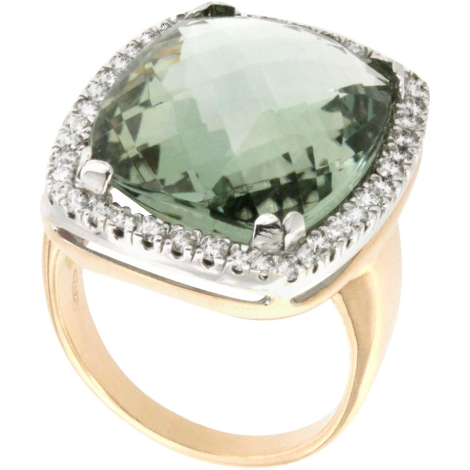 18 Karat Rose and White Gold with Prasiolite and White Diamond Ring