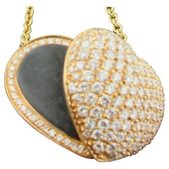 "18 Karat Rose and Yellow Gold ""Open"" Heart Pendant with 1.85 Carat of Diamonds"
