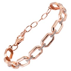 18 Karat Rose Gold, 0.26 Carat Diamond Hexagon Bangle