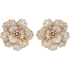 18 Karat Rose Gold 0.36 Carat Diamond and Enamel Earrings