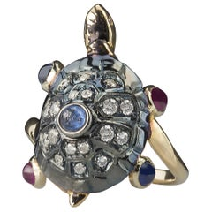 "18 Karat Rose Gold 0.60 Karat Sapphires Ruby ""Turtle"" Fashion Ring"