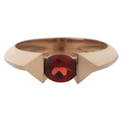18 Karat Rose Gold 0.70 Carat Natural Garnet Oval Cut Stacking Ring
