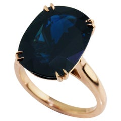 18 Karat Rose Gold 10.58 Carat Australian Sapphire Cocktail Ring
