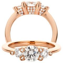 18 Karat Rose Gold 1.18 Carat Diamond Handmade Trilogy Ring