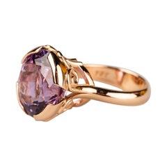 18 Karat Rose Gold 12.32 Carat Lilac Amethyst Ring