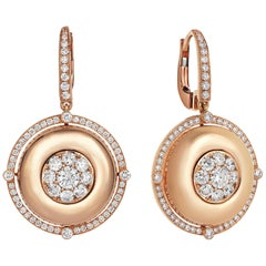 18 Karat Rose Gold 1.38 Carat Diamond Earring