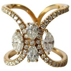 18 Karat Rose Gold 1.39 Carat White Diamonds Crossed Ring