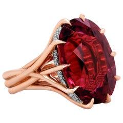 18 Karat Rose Gold 16.35 Carat Oval Rubelite Diamond Cocktail Ring