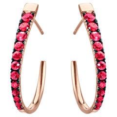 18 Karat Rose Gold 1.66 Carat Pigeon's Blood Red Ruby Hoop Earrings