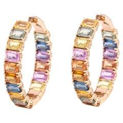 18 Karat Rose Gold 21.26 Carat Multi-Color Sapphire and Diamond Hoop Earrings