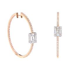 """18 Karat Rose Gold 2.18 Carat """"Illusion-Set"""" Diamond Hoop Earrings"""
