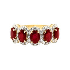 18 Karat Rose Gold 2.75 Carat Ruby Oval-Cut and Diamond Cluster Half-Band Ring