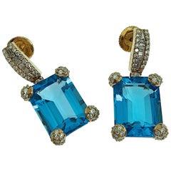 18 Karat Rose Gold 28 Carat Blue Topaz and White Diamonds Drop Earrings