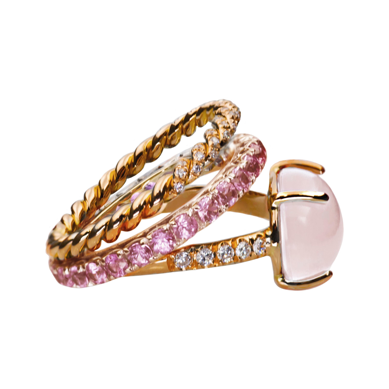 18 Karat Rose Gold 3 Karat Sapphire Quartz 0.10Karat White Diamond Cocktail Ring