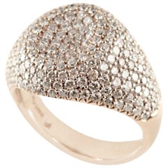 18 Karat Rose Gold 3.55 Carat White Diamonds Pinky Ring