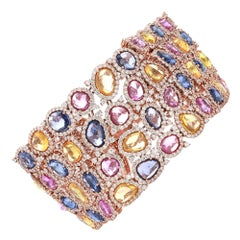 18 Karat Rose Gold 42.78 Carat Multi-Sapphire and Diamond Modern Bracelet