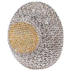 18 Karat White Gold 4.44 Carat White Round Cut Pave Diamond Cocktail Ring