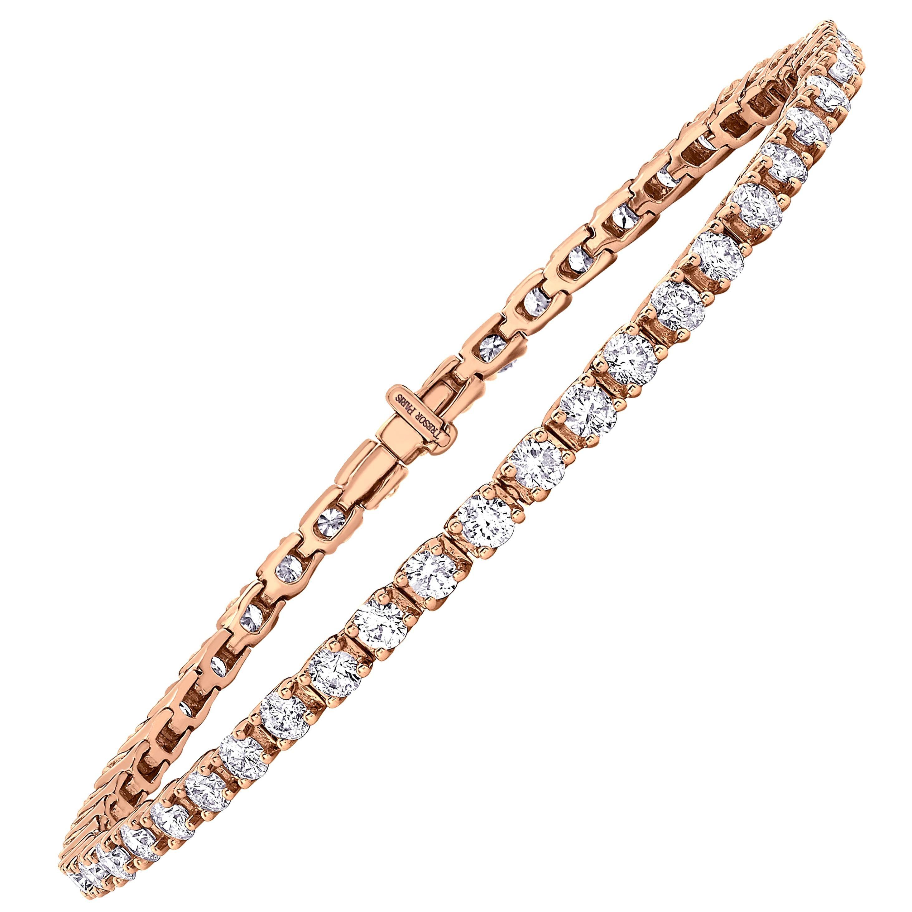 18 Karat Rose Gold 5 Carat Round Diamond Four Claw Tennis Riviera Line Bracelet