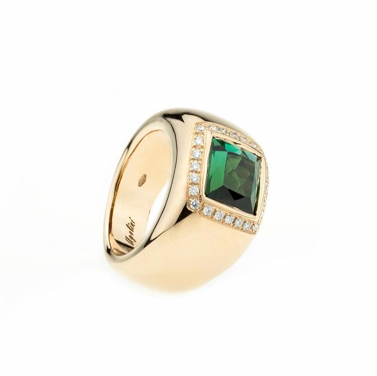 18 Karat Rose Gold 5 Karat Tourmaline 0.28 Karat White Diamond Design Ring For Sale 4