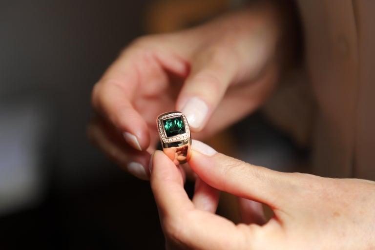 Art Deco 18 Karat Rose Gold 5 Karat Tourmaline 0.28 Karat White Diamond Design Ring For Sale