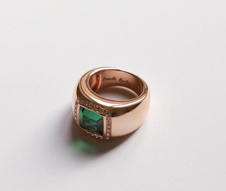 Square Cut 18 Karat Rose Gold 5 Karat Tourmaline 0.28 Karat White Diamond Design Ring For Sale