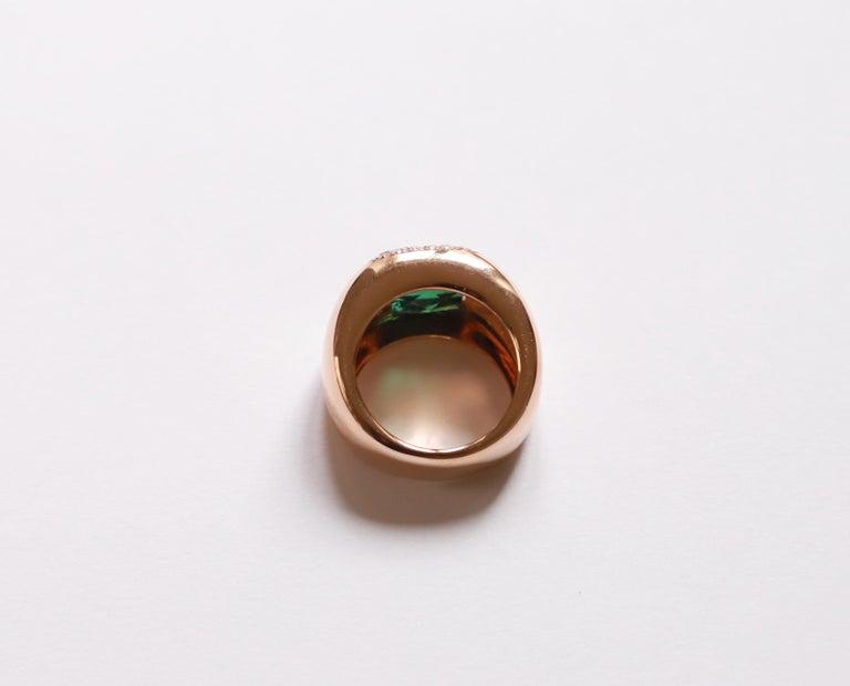 18 Karat Rose Gold 5 Karat Tourmaline 0.28 Karat White Diamond Design Ring In New Condition For Sale In Rome, IT