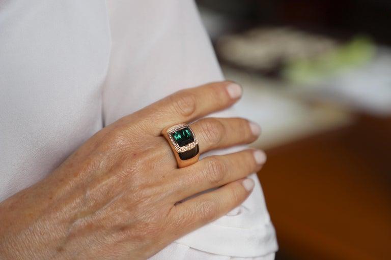 18 Karat Rose Gold 5 Karat Tourmaline 0.28 Karat White Diamond Design Ring For Sale 2