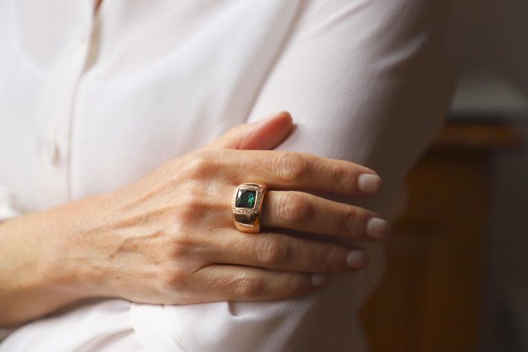 18 Karat Rose Gold 5 Karat Tourmaline 0.28 Karat White Diamond Design Ring For Sale 3