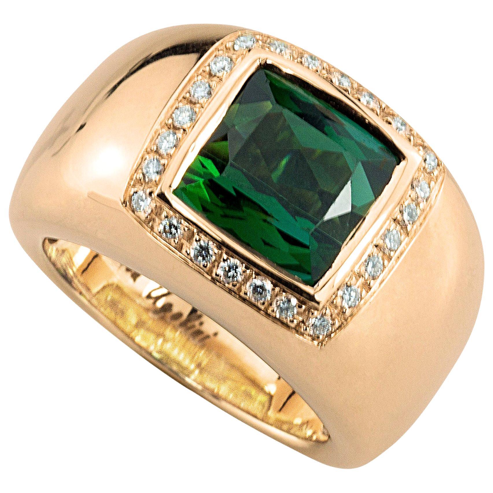 18 Karat Rose Gold 5 Karat Tourmaline 0.28 Karat White Diamond Design Ring