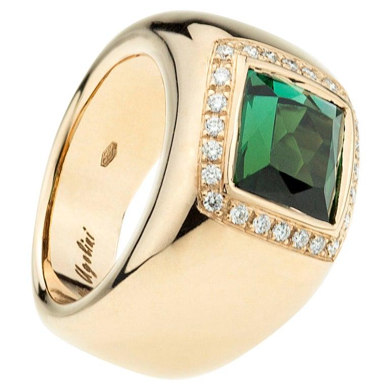 18 Karat Rose Gold 5 Karat Tourmaline 0.28 Karat White Diamond Design Ring For Sale