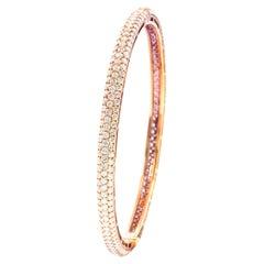 18 Karat Rose Gold 6.54 Carat Pave Set Diamond Three Row Bangle Bracelet