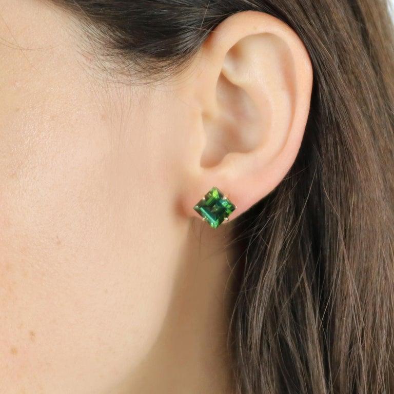 Emerald Cut Paolo Costagli 18 Karat Rose Gold 6.84 Carat Green Tourmaline Studs For Sale