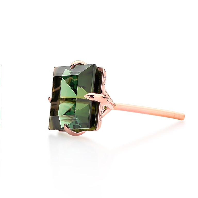 Paolo Costagli 18 Karat Rose Gold 6.84 Carat Green Tourmaline Studs In New Condition For Sale In New York City, NY