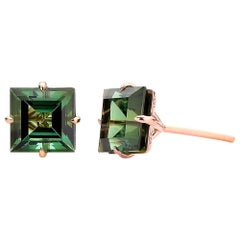 Paolo Costagli 18 Karat Rose Gold 6.84 Carat Green Tourmaline Studs