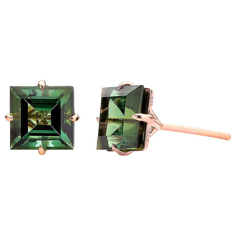 Paolo Costagli 18 Karat Rose Gold 6.84 Carat Green Tourmaline Studs For Sale