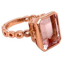18 Karat Rose Gold 7.78 Carat Morganite Ring