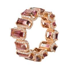 18 Karat Rose Gold 7.79 Carat Tourmaline and Diamond Eternity Band Ring