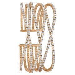18 Karat Rose Gold, 8.72 Carat Diamond Flexible Cuff
