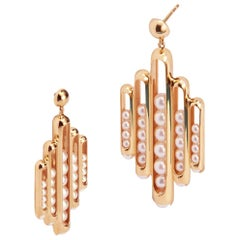 18 Karat Rose Gold, Akoya Pearls-Melody Dangle Earrings