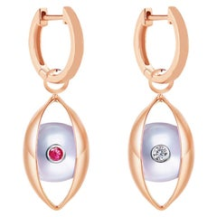 18 Karat Rose Gold, Akoya Pearls, Ruby, Diamond-The EYE Hoop Earrings