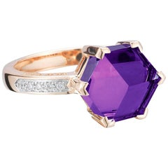 Paolo Costagli 18 Karat Rose Gold Amethyst 3.38 Carat Brillante Valentina Ring