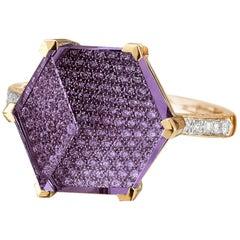 18 Karat Rose Gold Amethyst 6.56 Carat and Diamond Brillante Valentina Ring