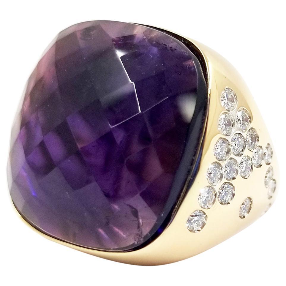 18 Karat Rose Gold, Amethyst, and Diamond Cocktail Ring