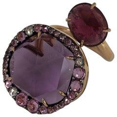 18 Karat Rose Gold Amethyst and Rubellite Modern Cocktail Ring