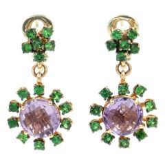 18 Karat Rose Gold Amethyst and Tsavorite Garavelli Dangling Earrings
