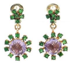 18 Karat Rose Gold Amethyst and Tsavorite Garavelli Dangling Earrings