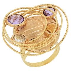 18 Karat Rose Gold Amethyst, Aquamarine and Topaz Cocktail Ring