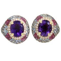 18 Karat Rose Gold Amethyst Aquamarine Rubellite Venice Earrings by Niquesa