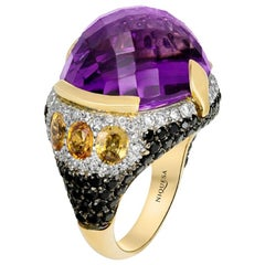 18 Karat Rose Gold Amethyst, Citrine and Diamond Venice Ring by Niquesa