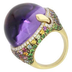 18 Karat Rose Gold Amethyst Multicolored Sapphire Venice Ring by Niquesa